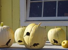 Peel-and-stick pumpkin decals dial up the creep factor. #etsyfinds #halloween