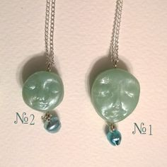 FREE SHIPPING  Gentle blue pendants in the shape of the face, double-sided, with bells. by lilKaterok on Etsy