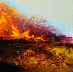 "Viscosity I 12""x12"" Maurice Sapiro - Pour Paintings"