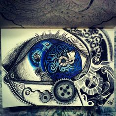 Mechanical eye drawing inspired by a tattoo @Artsnapper