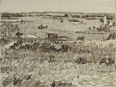 This pen-and-ink drawing – one of five works by van Gogh in the Kupferstichkabinett – records the composition of an oil painting created on 12 June 1888 (T. Van Gogh Drawings, Van Gogh Paintings, Ink Pen Drawings, Drawing Sketches, City Drawing, Drawing Art, Sketching, Vincent Van Gogh, Art Van