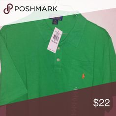 New Polo Ralph Lauren Boys size 18-20 Polo shirt. Green with orange polo on pocket. Boys size XL 18-20. New with tags Ralph Lauren Shirts & Tops Polos