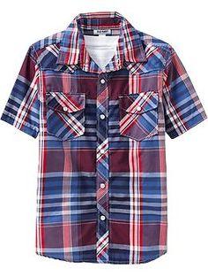 Boys Short-Sleeved Western Shirts (Old Navy 5-18)