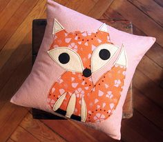 Pink and Orange Fox Pillow Cover by maureencracknell on Etsy, $38.00
