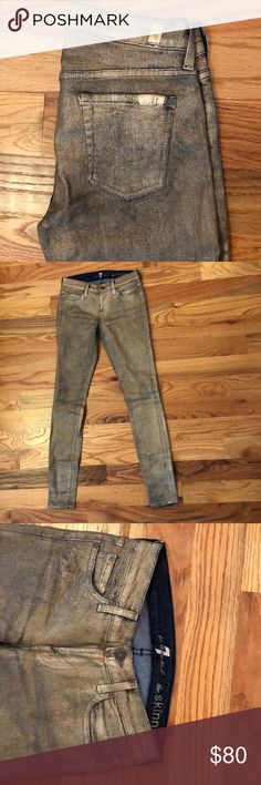 7 For All Mankind Gold Denim Skinny Jeans Denim jeans finished with metallic gold for a fun and funky addition to your denim wardrobe. Like new, barely worn. Stretch denim with 98% cotton, 2% spandex. 7 For All Mankind Jeans Skinny