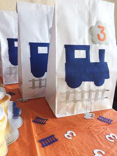 Train Party Favor Bags - Train Theme Party - Train Birthday - Thomas The Train Birthday - Thomas Birthday Party - Thomas Favor Bags - Trains by LittleLunaStation on Etsy https://www.etsy.com/listing/501935384/train-party-favor-bags-train-theme-party