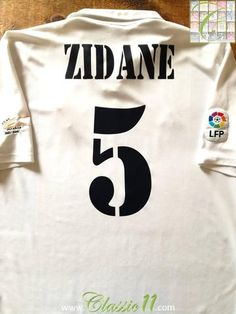 128aecad3 2002 03 Real Madrid Home La Liga Football Shirt Zidane  5 (XL)