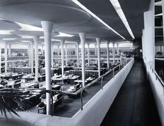 Johnson Wax Tower interior, Wisconsin — Frank Lloyd Wright (1950)