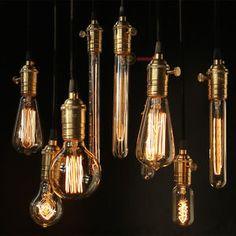 Edison bulb lampada retro lamp incandescent ampoule vintage For Decor Filament Bulb Click visit to buy Copper Lamps, Brass Pendant Light, Brass Lamp, Cheap Pendant Lights, Industrial Style Lighting, Edison Lighting, Vintage Lighting, Bar Lighting, Pendant Lighting