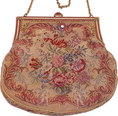 Vintage Tapestry Purse With Enamel and Faux Pearl Frame Flowers and Cherubs