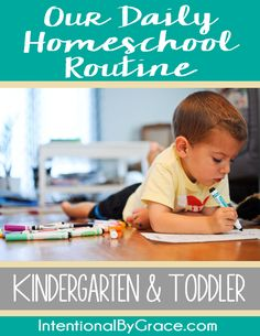 "Our daily homeschool routine with a kindergartener and toddler. Since homeschool and ""life"" doesn't really separate at this age, this has some great ideas for stay at home mom routines too. Prayers and how to pray Kindergarten Schedule, Homeschool Kindergarten, Preschool At Home, Preschool Activities, Home School Schedule, Daily Schedule For Moms, Toddler Preschool, Toddler Learning, Fun Learning"