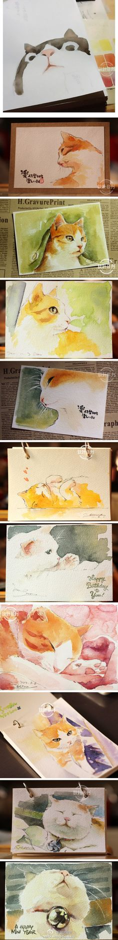 I'd hang these all over my house adorable                                                                                                                                                                                 More #CatWatercolor