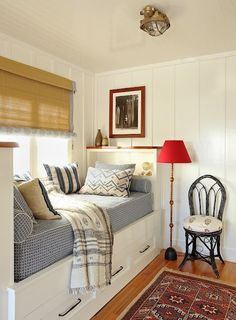 coastal bedroom ~ a feeling of serenity and I like the overhead light fixture
