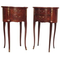 Pair of Mid-Century French Louis XVI Style End Tables | From a unique collection of antique and modern end tables at https://www.1stdibs.com/furniture/tables/end-tables/