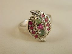 Vintage Sterling Silver Emerald and Ruby Ring / Ornate Gemstone Ring Size 6.5 by VintageBaublesnBits, $125.00