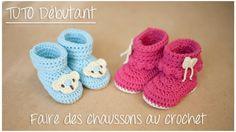 Chaussons bottines au crochet pour débutant (Taille naissance à 12 mois)