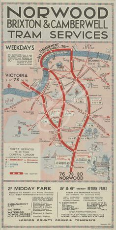 1929 LCC Tramways Poster showing services and connections to and from Norwood, Brixton and Camberwell into the West End.