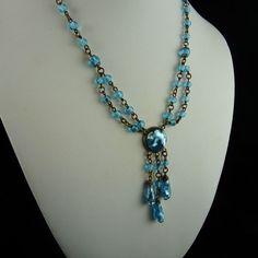 Art Deco Aqua Foil Glass Festoon Necklace from ornaments on Ruby Lane