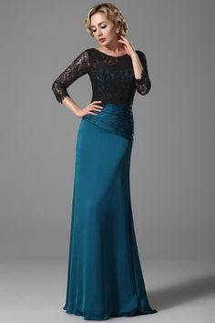 eDressit Stylish Lace Sleeves Mother of the Bride Dress Evening Dresses With Sleeves, Chiffon Evening Dresses, Prom Dresses, Formal Dresses, Black Lace Tops, House Dress, Lace Sleeves, Mother Of The Bride, Beautiful Dresses