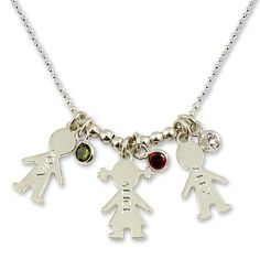 Girl & Boy Name Birthstones Charm Necklace