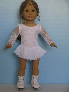 White Lace Ice Skating Dress for American Girl by DesignsforIce, $30.00