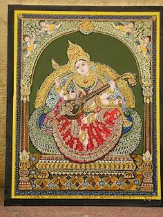 Girija M is a well known l Mysore style painter , a style which encompasses Hindu Deities in an ornate gold leaf pattern . Mysore Painting, Tanjore Painting, Krishna Painting, Krishna Art, Krishna Images, Indian Gods, Indian Art, Traditional Paintings, Traditional Art