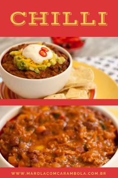 Taco Chilli, Chili Nachos, Mexican Chilli, Tacos And Burritos, Tex Mex, Finger Foods, Mexican Food Recipes, Great Recipes, Food And Drink