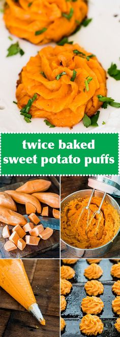 Savory mashed sweet potato puffs make an elegant healthy side dish for your family dinner. These sweet potato swirls are often called duchess potatoes.