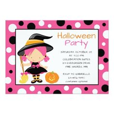 Polka Dot Witch Halloween Party Invitations - birthday invitations diy customize personalize card party gift