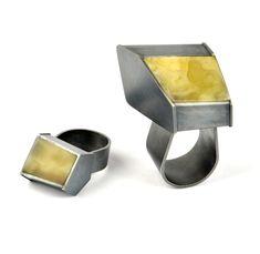 Heidemarie Herb, Untitled Rings, 2014, Amber, sterling silver. Photo: Silvana Tili