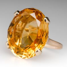 Large Oval Citrine Cocktail Ring 14K Yellow Gold
