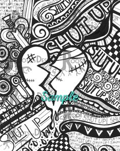 Broken Heart / Anti-Valentine's Day Art Pri… – Coloring Page for kids Skull Coloring Pages, Heart Coloring Pages, Printable Adult Coloring Pages, Doodle Coloring, Coloring Books, Coloring Sheets, Coloring Stuff, Valentine Coloring Pages, Doodle Art
