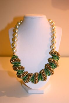 Ocean Waves  Cellini Spiral Necklace by HandStrungCreations, $85.00