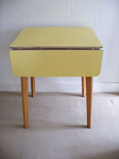 Vintage Retro Yellow Formica Topped Drop Leaf Table 50s Or 60s