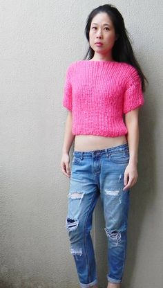 Handknitted Mohair Sweater  Hot Pink  by MarikitByKittyChoy