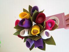 Tulpen van vilt! Ook als bruidsboeket te verkrijgen!