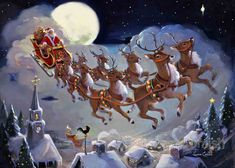 Susan Comish Christmas Art Gallery - Santa and his sleigh in the moonlight Christmas Scenes, Noel Christmas, Merry Little Christmas, Vintage Christmas Cards, Retro Christmas, Christmas Pictures, Father Christmas, Xmas, Illustrations Vintage