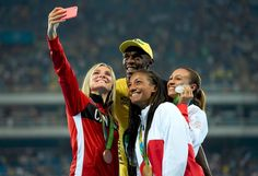 2016 Rio Olympic Medalists for Heptathlon 'steal' a selfie with Usain Bolt after his historic 100m gold medal winning race. BrianneTheisen-Eaton (@btheiseneaton) | Twitter