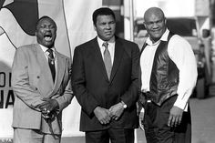 Three of a kind: Former World Heavyweight Champions Joe Frazier, Muhammad Ali and George Foreman in London in 1989