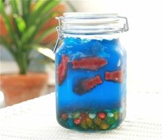 Jello Fishbowl for Kids… With Swedish Fish and jelly beans for rocks.