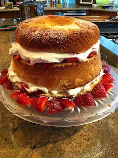 Martha Stewart Chiffon Cake with Strawberries--