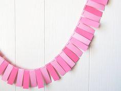 Pink Fringe Garland / Party Bunting / Nursery Bunting / Valentines Decor