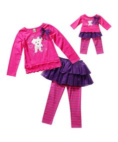Another great find on #zulily! Pink Puppy Skirted Leggings Set & Doll Outfit - Girls by Dollie & Me #zulilyfinds