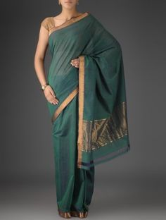 Green Mangalgiri Cotton Zari Border Handwoven Saree