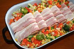 Filé s anglickou slaninou a zeleninou - před zapečením