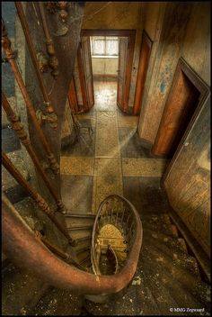 Abandoned - Luxembourg -The majestic old farm of the Heinen family, spiral staircase . by chelsea