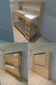 "New meaning to the dreaded command, ""Go make your bed. New meaning to the dreaded command, ""Go make your bed. Cama Murphy, Murphy Bunk Beds, Bunk Bed Plans, Murphy Bed Plans, Kids Bunk Beds, Murphy Etagenbetten, Diy Furniture, Furniture Design, Folding Furniture"