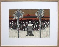 関野準一郎「東海道五十三次 金谷」木版画