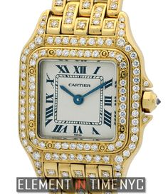 Cartier Panthere Ladies 22mm iN 18k Yellow Gold With A Silver Roman Dial And Factory Diamonds