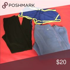Workout pants bundle A pair of black leggings, blue running shorts, and soffe capris Shorts